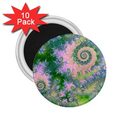 Rose Apple Green Dreams, Abstract Water Garden 2.25  Button Magnet (10 pack)