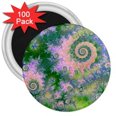 Rose Apple Green Dreams, Abstract Water Garden 3  Button Magnet (100 pack)