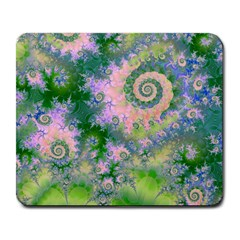 Rose Apple Green Dreams, Abstract Water Garden Large Mouse Pad (Rectangle)