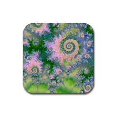Rose Apple Green Dreams, Abstract Water Garden Drink Coasters 4 Pack (Square)