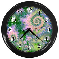 Rose Apple Green Dreams, Abstract Water Garden Wall Clock (black)