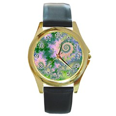 Rose Apple Green Dreams, Abstract Water Garden Round Leather Watch (Gold Rim)