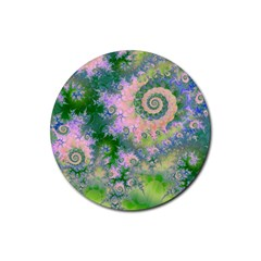 Rose Apple Green Dreams, Abstract Water Garden Drink Coaster (Round)