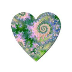 Rose Apple Green Dreams, Abstract Water Garden Magnet (Heart)