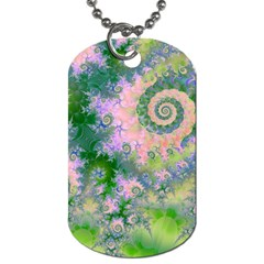 Rose Apple Green Dreams, Abstract Water Garden Dog Tag (One Sided)