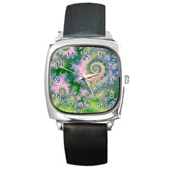 Rose Apple Green Dreams, Abstract Water Garden Square Leather Watch