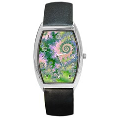 Rose Apple Green Dreams, Abstract Water Garden Tonneau Leather Watch
