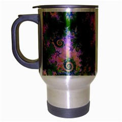 Rose Apple Green Dreams, Abstract Water Garden Travel Mug (Silver Gray)
