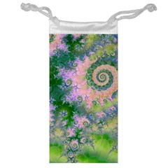 Rose Apple Green Dreams, Abstract Water Garden Jewelry Bag