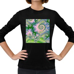 Rose Apple Green Dreams, Abstract Water Garden Women s Long Sleeve T Shirt (dark Colored)