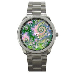 Rose Apple Green Dreams, Abstract Water Garden Sport Metal Watch