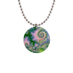 Rose Apple Green Dreams, Abstract Water Garden Button Necklace