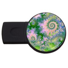 Rose Apple Green Dreams, Abstract Water Garden 4GB USB Flash Drive (Round)