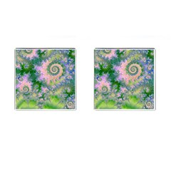 Rose Apple Green Dreams, Abstract Water Garden Cufflinks (square)