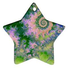 Rose Apple Green Dreams, Abstract Water Garden Star Ornament (Two Sides)