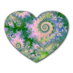 Rose Apple Green Dreams, Abstract Water Garden Mouse Pad (Heart)