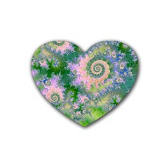Rose Apple Green Dreams, Abstract Water Garden Drink Coasters (Heart)