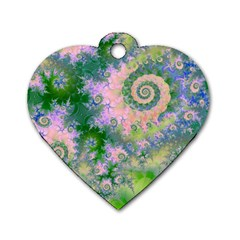 Rose Apple Green Dreams, Abstract Water Garden Dog Tag Heart (One Sided)