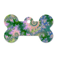 Rose Apple Green Dreams, Abstract Water Garden Dog Tag Bone (two Sided)
