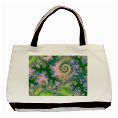 Rose Apple Green Dreams, Abstract Water Garden Twin Sided Black Tote Bag