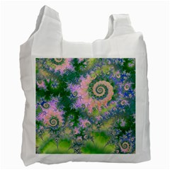 Rose Apple Green Dreams, Abstract Water Garden White Reusable Bag (Two Sides)