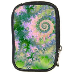 Rose Apple Green Dreams, Abstract Water Garden Compact Camera Leather Case
