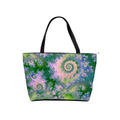 Rose Apple Green Dreams, Abstract Water Garden Large Shoulder Bag
