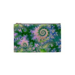 Rose Apple Green Dreams, Abstract Water Garden Cosmetic Bag (Small)