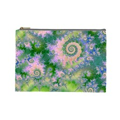 Rose Apple Green Dreams, Abstract Water Garden Cosmetic Bag (large)