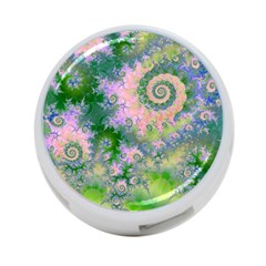 Rose Apple Green Dreams, Abstract Water Garden 4-Port USB Hub (One Side)
