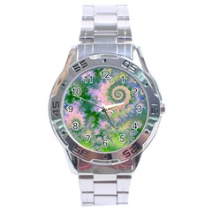 Rose Apple Green Dreams, Abstract Water Garden Stainless Steel Watch