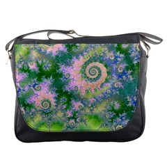 Rose Apple Green Dreams, Abstract Water Garden Messenger Bag