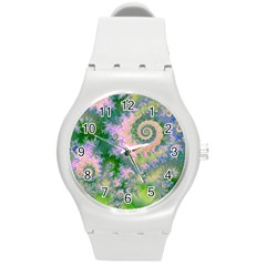 Rose Apple Green Dreams, Abstract Water Garden Plastic Sport Watch (Medium)
