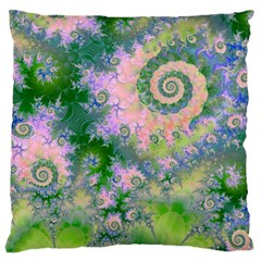 Rose Apple Green Dreams, Abstract Water Garden Large Cushion Case (Two Sided)
