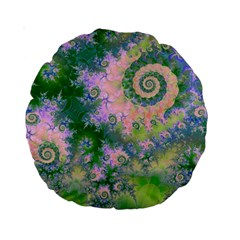 Rose Apple Green Dreams, Abstract Water Garden 15  Premium Round Cushion