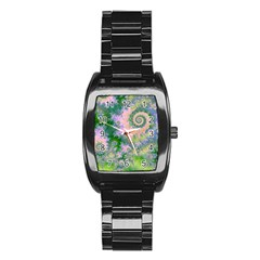 Rose Apple Green Dreams, Abstract Water Garden Stainless Steel Barrel Watch