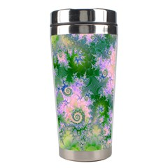 Rose Apple Green Dreams, Abstract Water Garden Stainless Steel Travel Tumbler