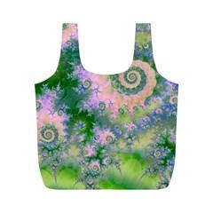 Rose Apple Green Dreams, Abstract Water Garden Reusable Bag (M)