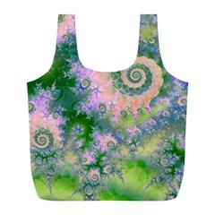 Rose Apple Green Dreams, Abstract Water Garden Reusable Bag (L)