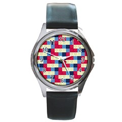 Hearts Round Leather Watch (Silver Rim)