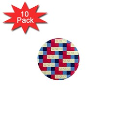 Hearts 1  Mini Button Magnet (10 pack)