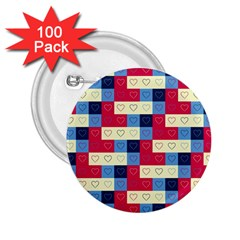 Hearts 2 25  Button (100 Pack)