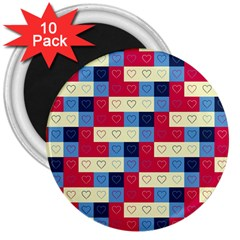 Hearts 3  Button Magnet (10 pack)