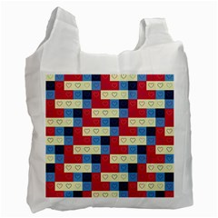 Hearts White Reusable Bag (One Side)