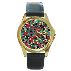 Retro Round Leather Watch (Gold Rim)