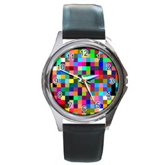 Tapete4 Round Leather Watch (silver Rim)