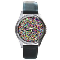 Color Round Leather Watch (Silver Rim)