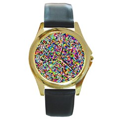 Color Round Leather Watch (Gold Rim)