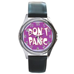 Purple Don t Panic Sign Round Leather Watch (Silver Rim)