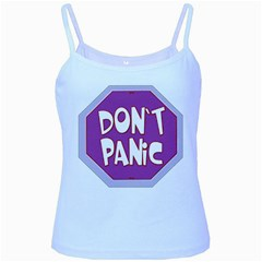 Purple Don t Panic Sign Baby Blue Spaghetti Tank